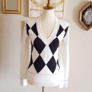Burberry - Black & White Argyle Sweater